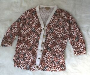 EUC-Peck-amp-Peck-women-039-s-size-M-pattered-buttons-cardigan-sweater-raglan-sleeve