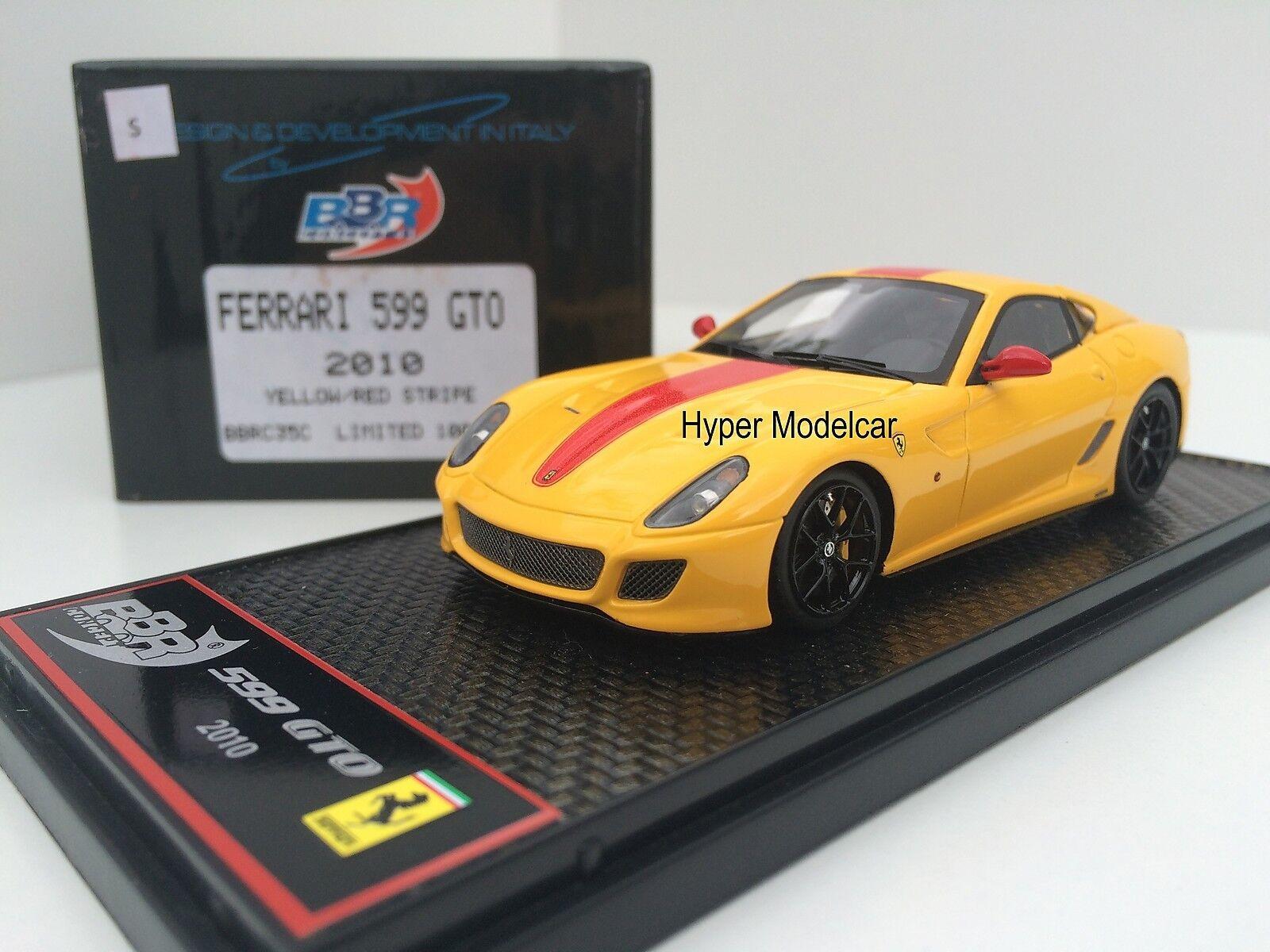 BBR Model 1 43 Ferrari 599 GTO 2010 giallo rosso Stripes  Art. BBRC35C