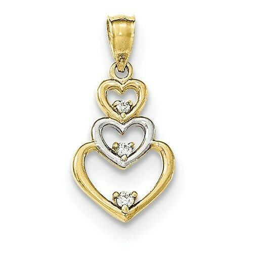 10K GOLD TWO-TONE GRADUATED 3 HEARTS OPEN TRIPLE HEART CZ JOURNEY PENDANT CHARM