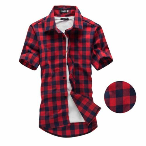Short Sleeve Plaid Shirt Men/'s Fashion Clothing Casual Clothes Outerwear Checked