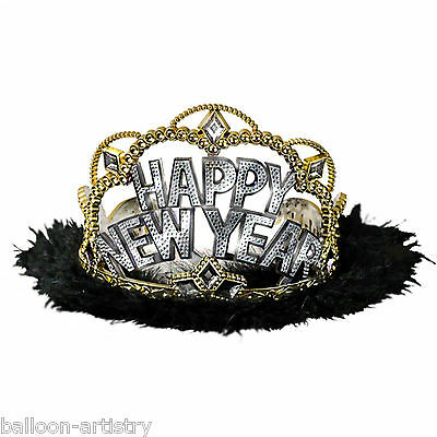 3 Happy New Year Party Silver Gold Celebration Headpiece Black Furry Tiaras