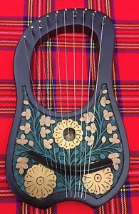 Lyre Harp 10 Metal Strings Rosewood Thistle Design/Lyra Harp Shesham Wood + Key