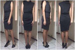 SOPHISTICATED-LANVIN-Grey-Asymmetric-Drape-Exposed-Zips-Wool-Stretch-Dress-US4