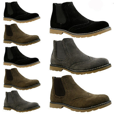MENS FAUX SUEDE CHELSEA BROGUE BOOTS ANKLE DEALER FORMAL SMART WEDDING SHOES NEW