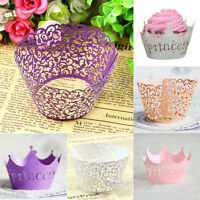12Pcs Hollow Out Baking Cups Cake Paper Wrapper Cupcake Wedding Decor Supply