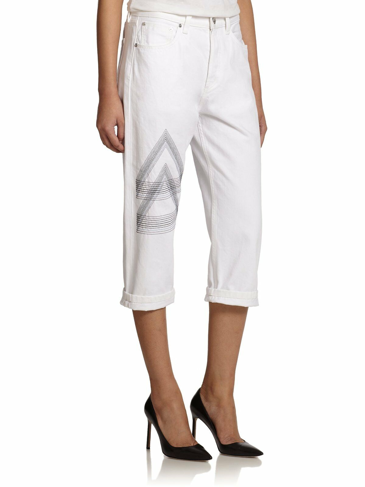 278 MARC by MARC JACOBS White Embroidered Cropped Straight-Leg JeansSZ 30