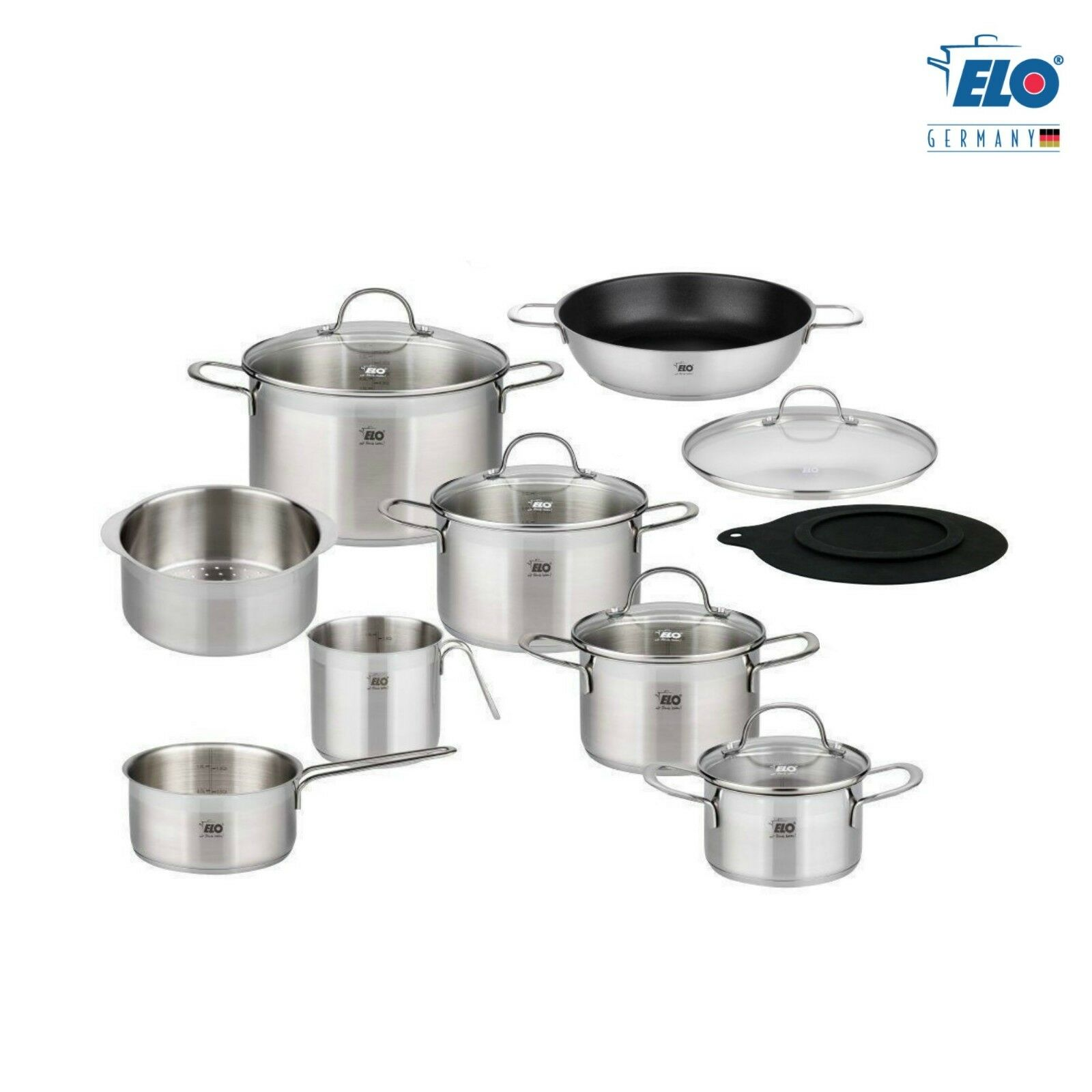 ELO Germany 14 PC 18 10 Stainless Steel Kitchen Induction Cookware Pot & Pan Set