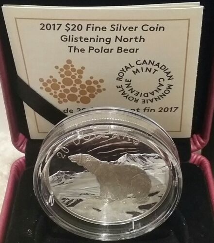 2017 Polar Bear Glistening North $20 1OZ Pure Silver Proof Coloured Coin Canada
