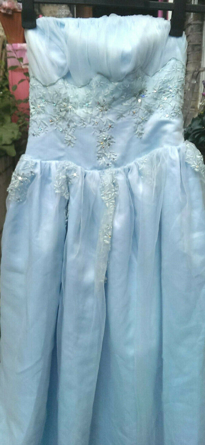 1950's-style Pale Blue Starlet Bodice Gown, Rhinestones. Bridesmaid/Ball S-M