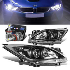 Black Housing Clear Side Projector Headlightslim Led Hid Kit For 10 13 Mazda 3 Fits Mazda 3