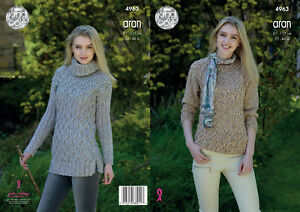 84e33e0d3a5f King Cole Ladies Aran Knitting Pattern Round or Polo Neck Cabled ...