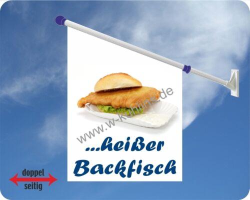 Backfisch Kirmes Fisch Fahne,Werbefahne Brötchen Flagge Fischspezialitäten