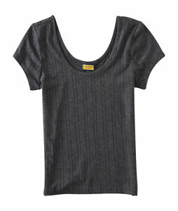 6480704bbca Details about NEW Aeropostale Women's Prince & Fox Gray Short Sleeve Ribbed  Crop Top (F1-6)