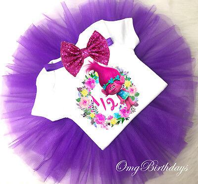 Trolls Poppy Hot Pink Blue Seventh 7th Birthday Headband Tutu Shirt Outfit Set