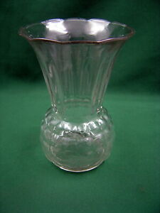 Vintage-Anchor-Hocking-Clear-Glass-Pineapple-Vase-1940-039-s