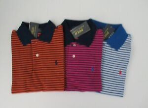 NWT-Ralph-Lauren-Boys-SS-Navy-Striped-Mesh-Polo-Shirt-8-10-12-14-16-18-20-NEW