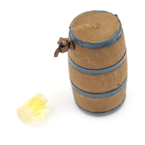 1:12  DOLLHOUSE Mini Furniture Fittings a Beer Barrel and a Glass of Beer Hc