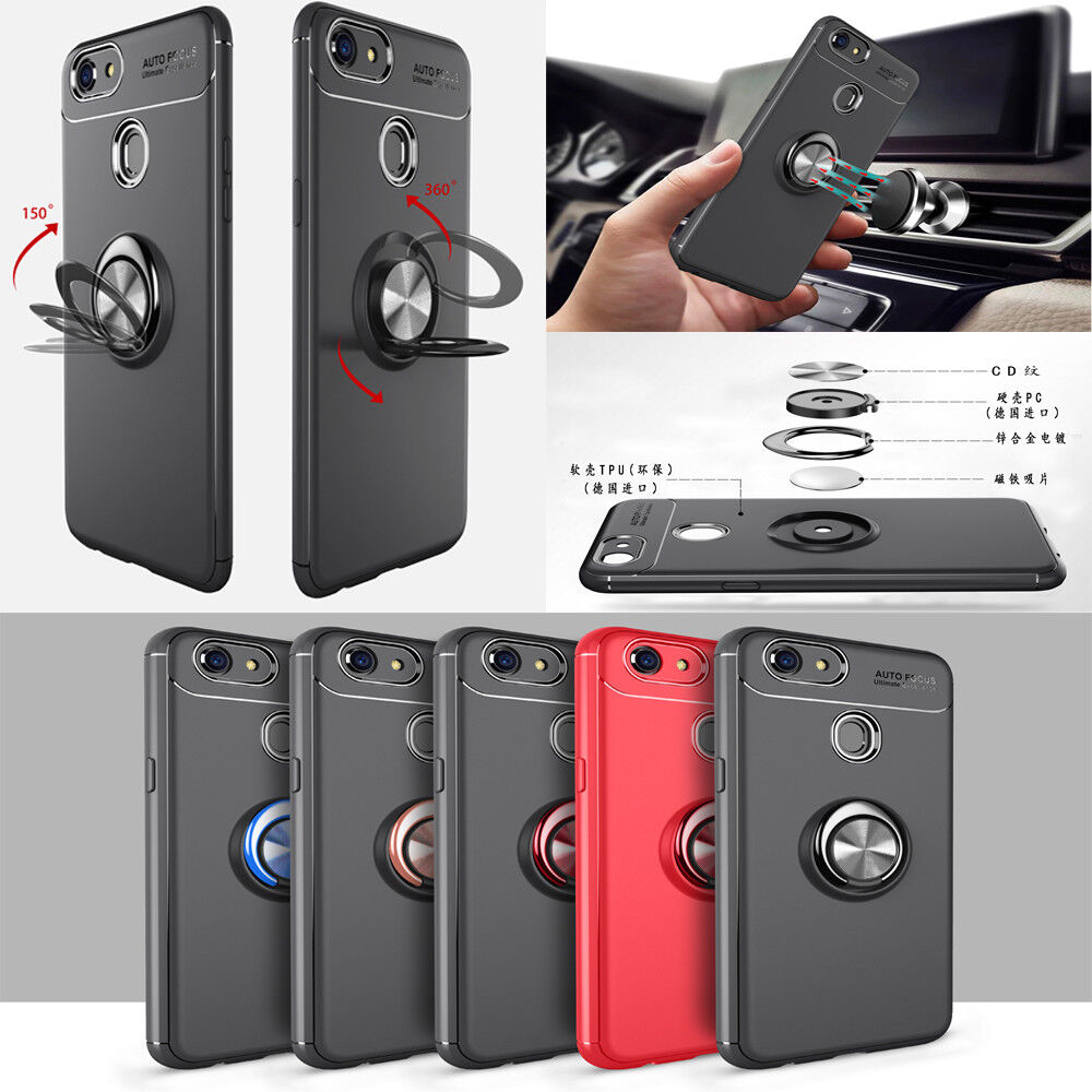 Fr Oppo R15 R9s A73 A57 R11s Full Protector Case Pc Glass Screen Soft Tpu Leather F7 Auto Focus F1s Metal Magnetic Cover With Car Ring Holder Buckle