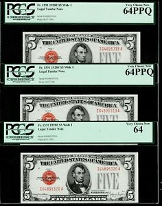 3-Consecutive-1928F-Five-Dollar-5-Legal-Tender-Note-PCGS-64-PPQ
