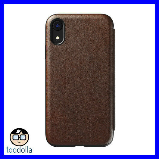 reputable site 8119b 8e7e3 NOMAD Horween Genuine Leather Rugged Folio Wallet case for iPhone XR, Brown