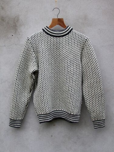Jumper Wool 100 Knit off Norwegian By Charcoal Island Crew Norlender White 5wS8O4x