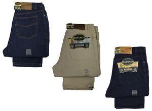 Trabajo-para-hombre-Plain-simple-duro-Jeans-Azul-ndigo-Beige-Azul-Marino-Disenador-Pantalones-De