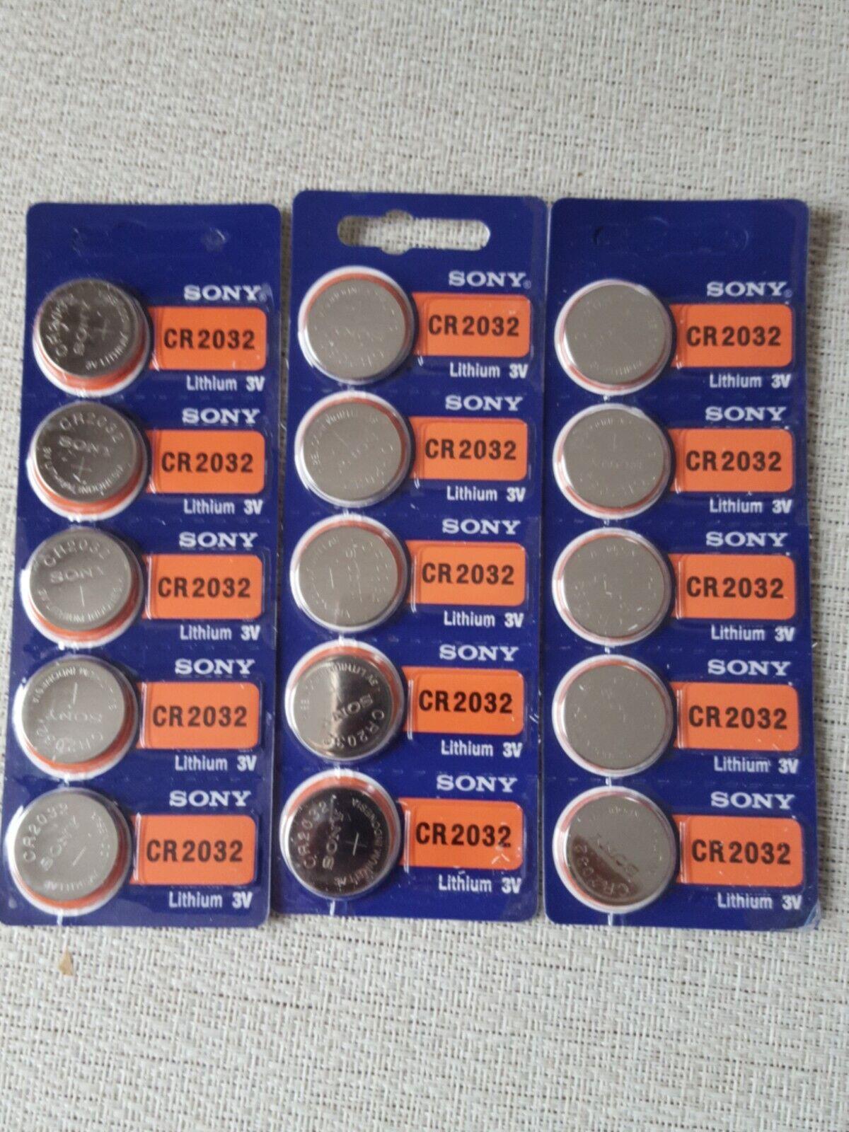 Sony Battery CR2032 Lithium 3V Button Battery Cr 2032 (3er Pack 15stk) NEW