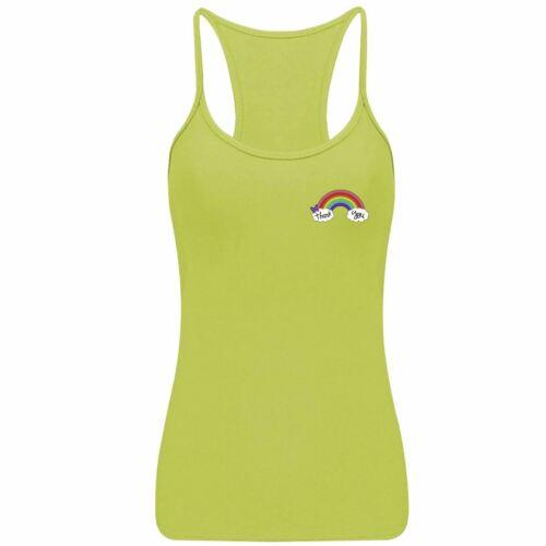Women Rainbow NHS Thank You Lycra Vest Sleeveless Strappy RacerBack Top 8095