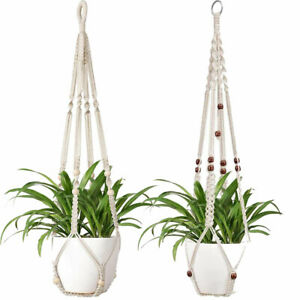 MACRAME PLANT HANGER 24 in SKY BLUE with WHITE BEADS