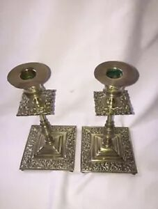 Beautiful Vintage Ornate Square Solid Brass Candlestics