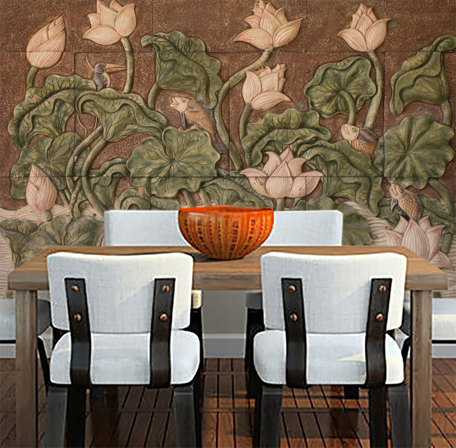 3D Engraved lotus 3276 Wall Paper Print Wall Decal Deco Indoor Wall Murals