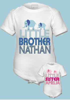 Creativo Personalizzata Piccolo Brother / Sorellina Babygrow / Body / Canotta Qualsiasi Nome-uit/vest Any Name It-it
