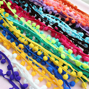 5Yards-20mm-Pom-Pom-Trim-Ball-Fringe-Ribbon-Sewing-Accessory-Lace-GVUK