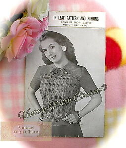 7e1fa5c17 Vintage 40s Knitting Pattern Lady s  Leaf   Ribbing  Sweater. 2 ...