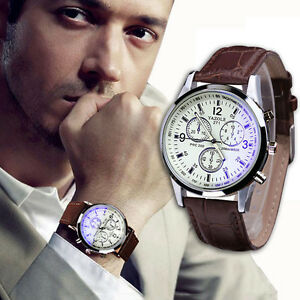Luxury-Fashion-Mens-Leather-Blue-Ray-Glass-Watch-Quartz-Analog-Watches-amp-Band