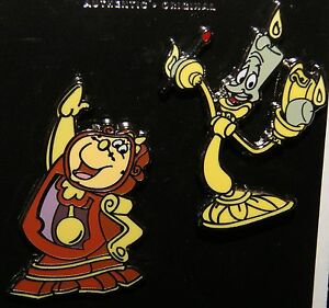 Dettagli su Disney la Bella e Bestia Cogsworth & Lumiere 2 Pin Set Nuovo su Originale Carta