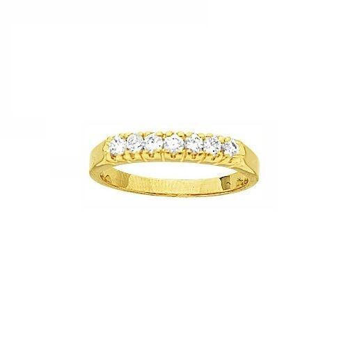Bijoux Femme T50 Alliance Demi-Rail Diamant Cz Plaqué Or 18K Laminé