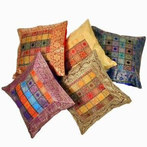 Image Is Loading Indian Multi Square Pillow Cushion Cover Banarsi Silk