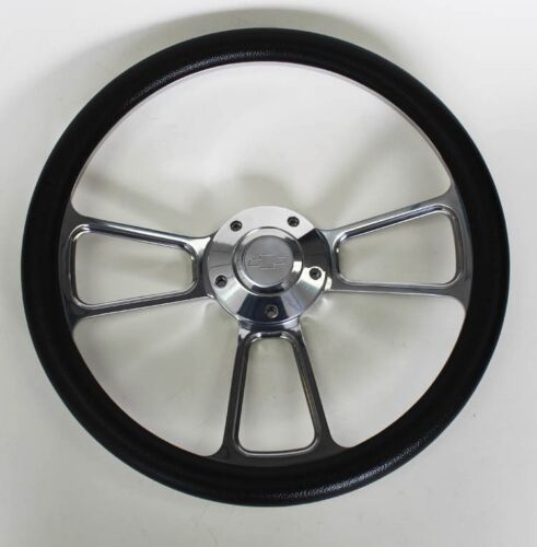 "60-69 Chevy Pick Up Truck Steering Wheel Black and Billet 14/"" Chevy Bowtie Cap"
