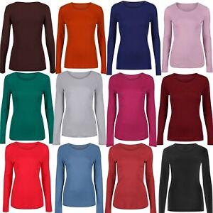M/&S Ladies Cotton Long Sleeve T Shirt Top Round Neck Black Grey White Navy 6-20