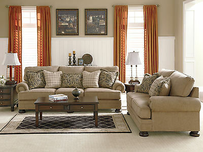 JUPITER Traditional Living Room Couch Set - NEW Brown Chenille Sofa Loveseat