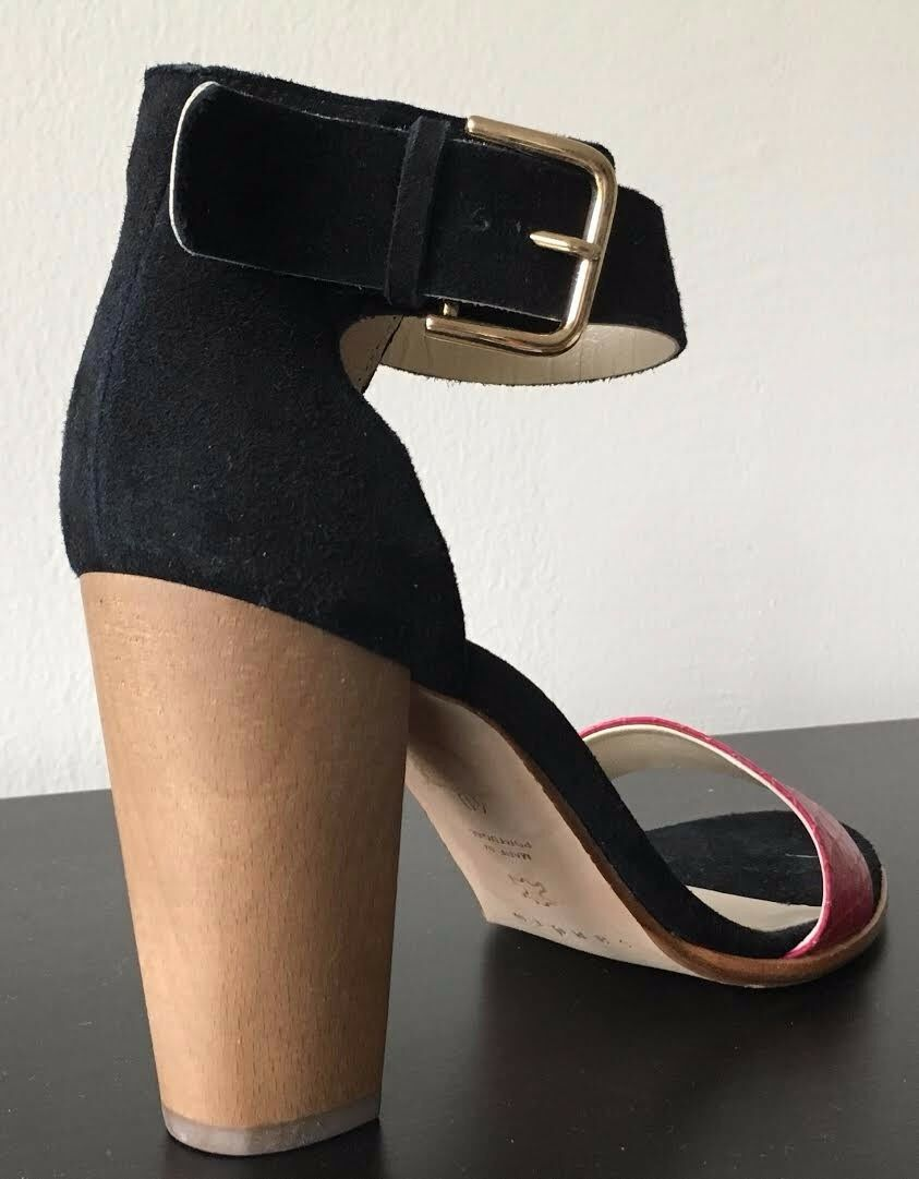Brand new Sandro Strappy Sandals, size size size 40 US 9.5, suede, black pink c41c28