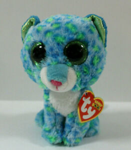 "Ty Beanie Boo Leona Blue and Green Leopard 6/"" Plush TySilk Green Glitter Eyes"