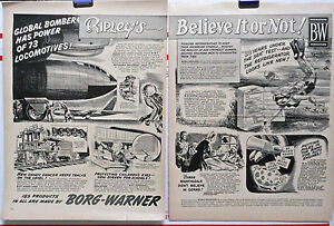 1954 two page magazine ad - Ripley's Believe It or Not - Global Bomber