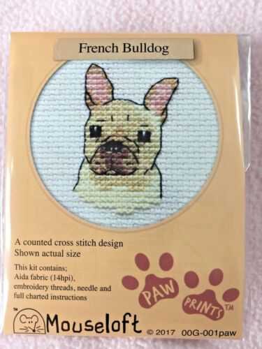 Mouseloft pata huellas Cross Stitch Kit ~ Bulldog francés ~ Nuevo