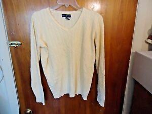 Womens-Karen-Scott-M-Cream-Yellow-Long-Sleeve-Cable-Knit-Sweater-Top