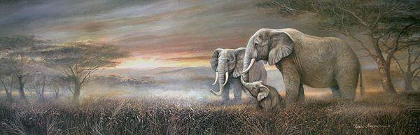 Ruane Manning  Gentle Giants Fertig-Bild 30x90 Wandbild Elefanten