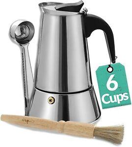 Espressokocher 6 Tassen Espresso Bereiter Maschine Edelstahl Mokka Maker 300ml