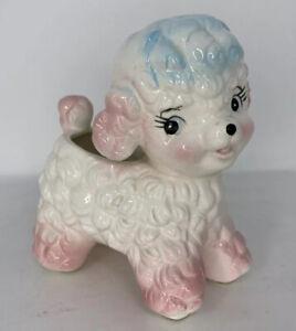 Samson-Import-Co-1961-Pink-Blue-Curly-Baby-Lamb-Ceramic-Planter-5116A-Japan