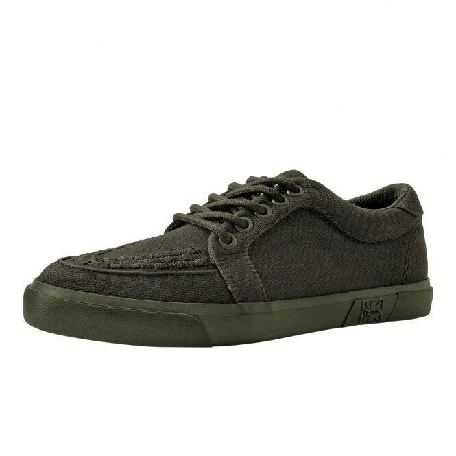 T.U.K. A9264 nuovi uomini vegan Scarpe in Tela Verde con Sneaker Suola di Gomma Creeper Sneaker con Skater d8f625